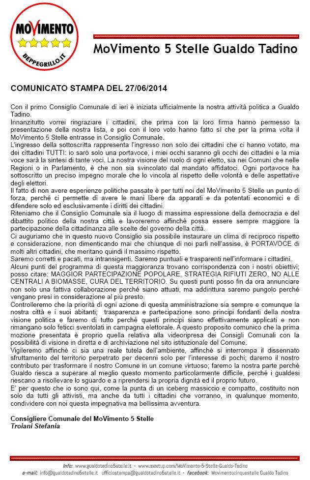 comunicato stampa 27-06-2014