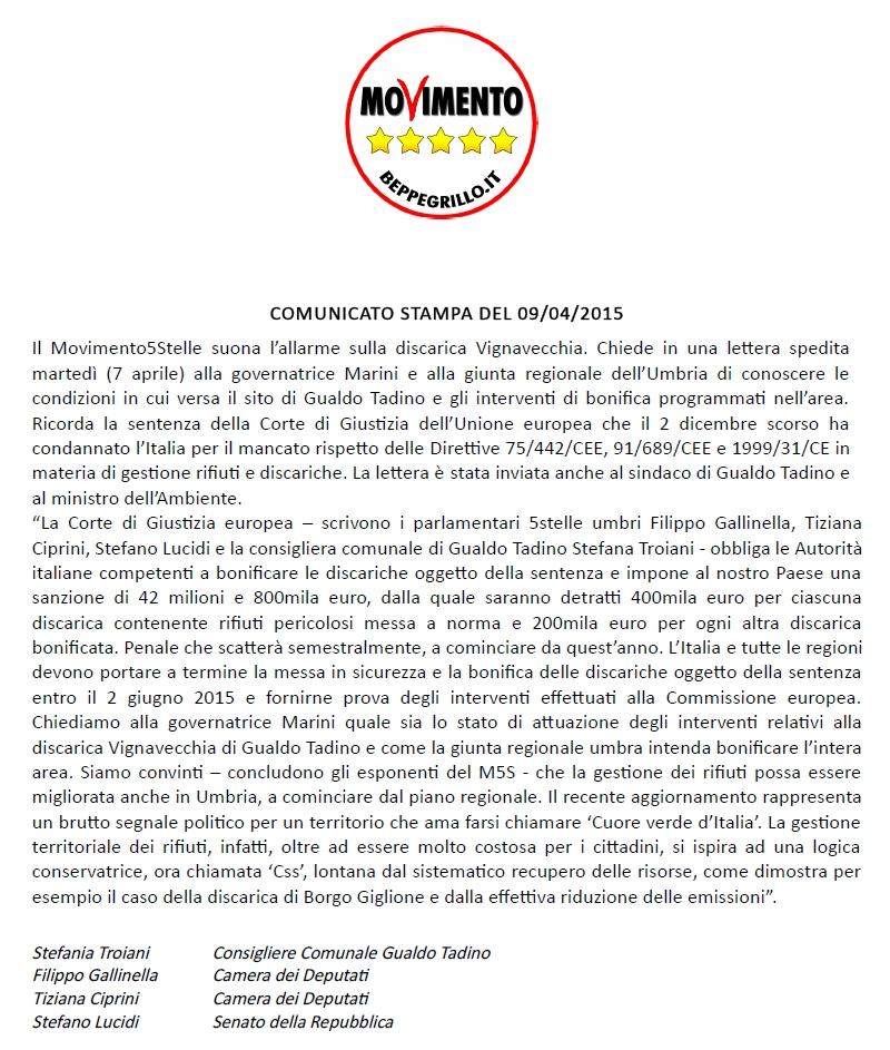 Comunicato stampa 09-04-2015