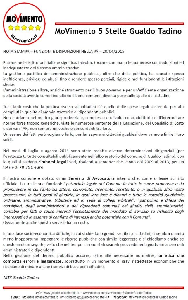 comunicato stampa 20-04-2015