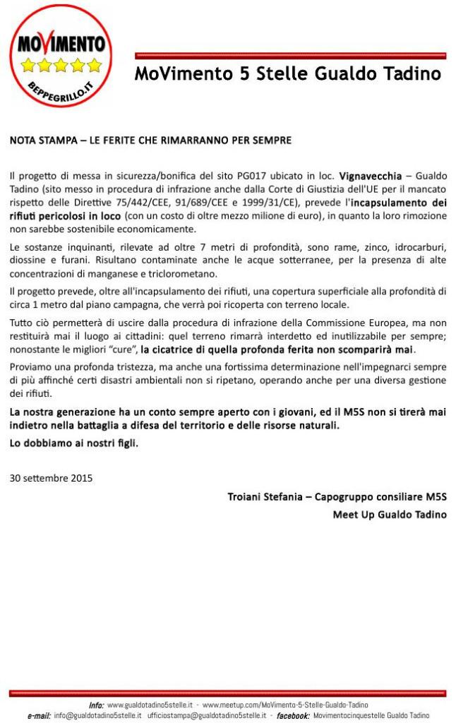comunicato stampa 30-09-2015