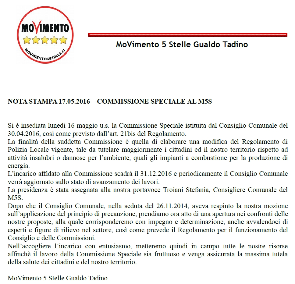 nota stampa commissione speciale 17-05-2016